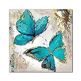 Astratto Azzurri Farfalle Tela Poster Blu Farfalle con Oro Lamina Quadri Soggiorno Stanza Parete Arte per Casa Decorazioni Quadro 50x50cm No Cornice