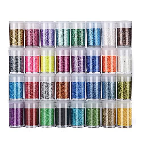 Glitter Polvere 32 Colori Set di Polvere Glitter Decorazioni, Tubetti di Glitter Per Viso & Body, Costumi, Pittura, Babmini, Unghie