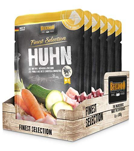 Belcando Frischebeutel [6x300g Huhn & Reis mit Zucchini & Möhren] | Nassfutter für Hunde | Feuchtfutter Alleinfutter im Einzelportionsbeutel