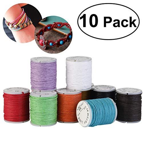 BESPORTBLE Pack van 10 Waxed katoenen koorden touwtjes voor DIY Ketting Armband Craft maken Willekeurige kleur