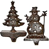 Gift Boutique Stocking Holder for Christmas - Set of 2 Rustic Cast Iron Tree and Snowman Stockings Hanger Mantle Decor