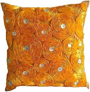 Orange Couverture D'Oreillers, Ruban Marigold Fleur Thème Floral Couverture D'Oreillers, 40x40 cm Taies D'Oreiller Décorat...