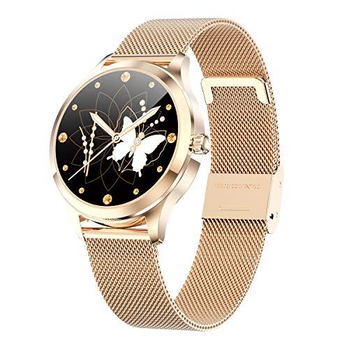 Smartwatch donna LW07 waterproof IP68 bluetooth notifiche compatibile Android e iOS gold