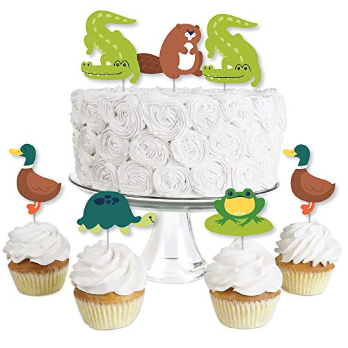 Big Dot of Happiness Pond Pals - Dessert Cupcake Toppers - Frog, Alligator, Turtle, Beaver and Duck Birthday Party or Baby Shower Clear Treat Picks - Set of 24