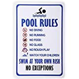 HANTAJANSS Pool Rules Swim at Your Own Risk Warning Metal Sign, Safety Tin Signs for Swimm...