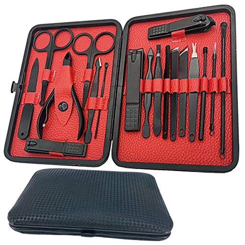 Manicure Set-18 in 1 Stainless Steel Nail Care Kit-Professional Pedicure Kit Nail Clipper Grooming Kit-Nail Scissors Set with Black Leather Travel Case,Best Gift for Man and Women (Black&Red 18 In 1)