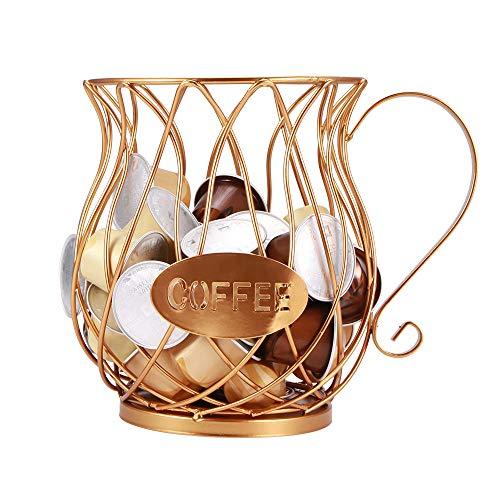 Cestello Portaoggetti Universale per Caffè Porta Capsule Multiuso per Caffè Espresso Supporto per Capsule Caffè Adatto per Nespresso Cucina di Casa Hotel (D'oro)
