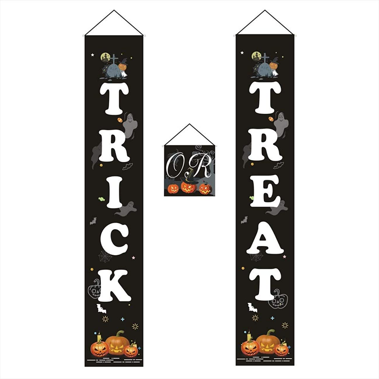 CheeseandU 3 Set Trick or Treat Halloween Banner Garland Home Door Sign Halloween Party Hangers Decoration for Home Fireplace Office Outdoor Halloween Decor Ready to Welcome Kids