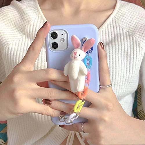 Linda Funda de teléfono con Pulsera de arcoíris de Conejo de Oso de Peluche 3D para iPhone 12Mini 11Pro MAX XR XS 6 7 8 Plus SE 2020 Funda Trasera Suave, b, para iPhone 6 6S