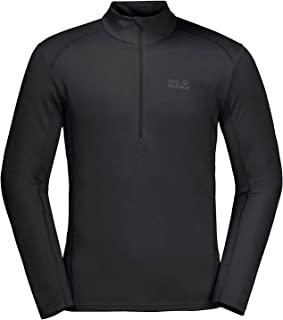 Jack Wolfskin Sky Range 1/2 Zip Mens Outdoor Long Sleeve Shirt Top Black