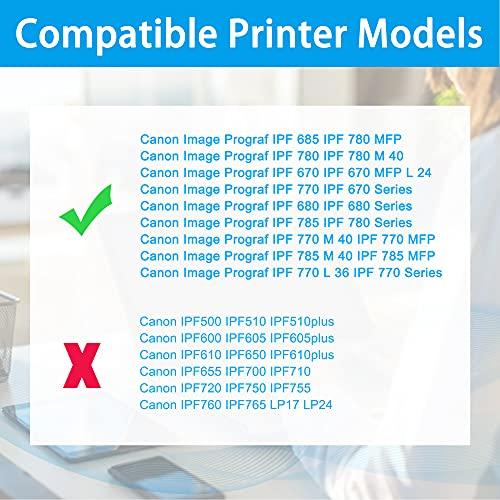 LCL Cartucho de Tinta Compatible PFI107 PFI-107 PFI-107Y PFI-107Y 6708B001 (Amarillo) Reemplazo para Canon Image Prograf IPF670 IPF 670 MFP L 24 IPF 670 Series IPF770 IPF 770 L 36 IPF 770 M 40