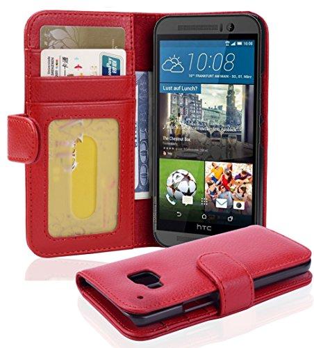 Cadorabo - Book Style Hülle für HTC ONE (M9-3.Generation) - Case Cover Schutzhülle Etui mit 3 Kartenfächern in Inferno-ROT