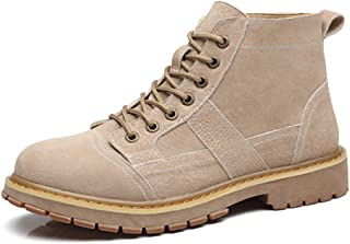 Happy-L Shoes, Ankle Desert Boots for Men Work Boot Lace up Genuine Leather Low Heel Round Toe Wear Resisting Anti-Skid Burnished Style Patchwork