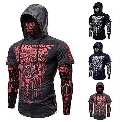 Falso al aire libre de dos piezas traje de Ninja Cyberpunk elástica aptitud de los hombres con capucha Máscara Montar camiseta Slim basculador de culturismo manga larga chaqueta de Personalidad