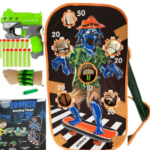 wishery Zombie Target Practice Shooting Game Toy for Kids - Compatible with Nerf Guns - Halloween Zombie Toys for 5 Year Old Boys - Toy Foam Blaster Gun target with storage net Darts Bullet Holder Kit