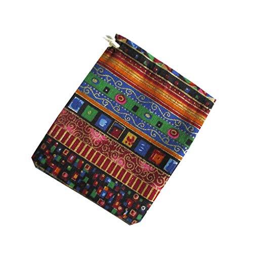 Yihaifu Estilo étnico Unisex de impresión de algodón de Lino de algodón de Estilo étnico Bolsa de Almacenamiento del pequeño Cambio de Lazo Monedero joyería Bolsa