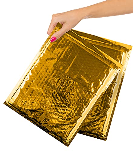 ABC Pack of 20 Metallic Bubble Mailers 8 x 11. Gold Padded Envelopes 8 x 11. Glamour Bubble Mailers. Peel & Seal Cushion Packaging Mailers. Mailing, Packing, Wrapping, Shipping.