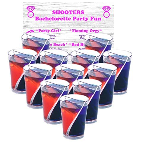 Bachelorette Party Split Shot Glasses Spilt Shooters Reusable Clear Plastic Shot Cup – 12 With 1 - Bachelorette Recipe Coaster