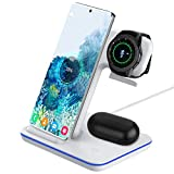 Intoval Wireless Charger, Charging Station for Samsung Galaxy Phone/Watch/Buds, Fit for S20/S10/S9/S8/Note 10/Note 9/Note 8, Active 2/Active 1/ Gear S3/S2/Fit 2, Galaxy Buds/+/Live (S5,White)