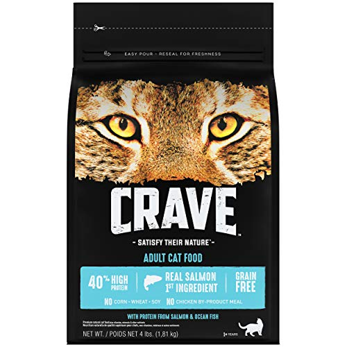 CRAVE Grain Free Adult High Protein Natural Dry Cat Food with Protein from Salmon & Ocean Fish, 4 lbs Bag