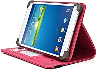 Visual Land Prestige Elite 7QS Tablet Case, UniGrip PRO Series - Pink - by Cush Cases (Case Features PU Leather with Bulit in Stand, Hand Strap, 3 Card Slots and SIM Card Holder)