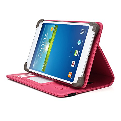 "NuVision 7.85"" Tablet Case, UniGrip PRO Series - Pink - by Cush Cases (Case Features PU Leather with Bulit in Stand, Hand Strap, 3 Card Slots and SIM Card Holder)"