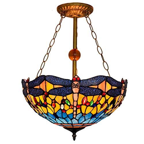 Lámpara colgante de vidrio de estilo tiffany 16 pulgadas lámpara pendiente de Tiffany colgante amarillo claro de la libélula manchado colgante de cristal de la lámpara colgante Comedor arte de la barr