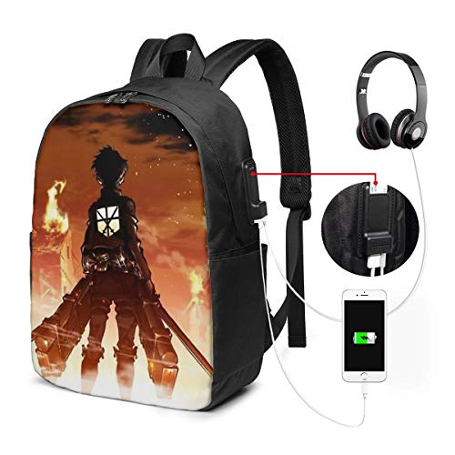 UxaliO Attack On Titan Trendy Travel USB Backpack,17 Inch Computer Business Backpacks Student Backpack Casual Hiking Daypack