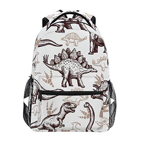QMIN Sac à dos avec motif dinosaure imprimé pour l'école, le voyage, le collège et le sac à dos pour ordinateur portable, la randonnée, le camping, l'organiseur pour garçons, filles, femmes, hommes