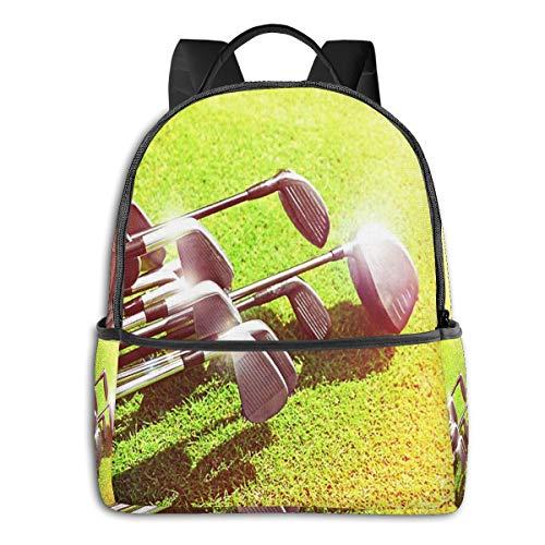 Rucksack Freizeit Damen Herren, Summer Silver Sand Golfschläger Campus Kinderrucksack, Daypack Schulrucksack Sportrucksack Tablet Tasche 15,6 Zoll