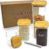 NAKOA Vorratsdosen Glas Vorratsgläser Set – Glasbehälter mit Deckel 4 STK 0,8/1,1/1,4/2,2 L inkl. gratis Glas Marker/Rechteckig und Stapelbar (Gläser für die Lebensmittel Aufbewahrung in der Küche)