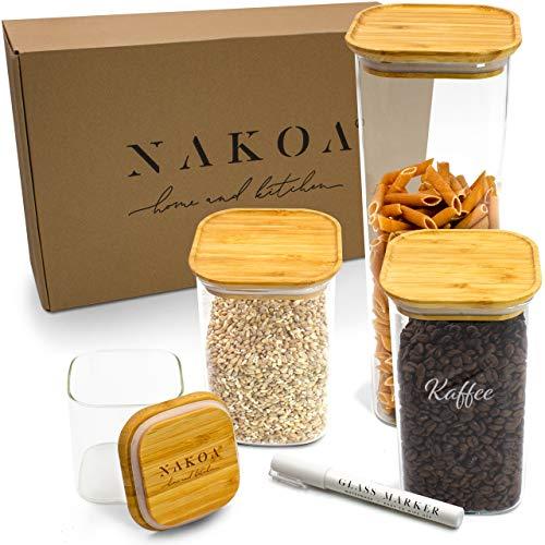 NAKOA Vorratsdosen Glas Vorratsgläser Set – Glasbehälter mit Deckel 4 STK 0,8/1,1/1,4/2,2 L inkl. gratis Glas Marker/Rechteckig & Stapelbar (Gläser für die Lebensmittel Aufbewahrung in der Küche)