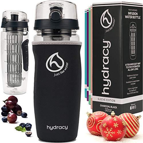 Hydracy Botella de Agua con Filtro infusor para Fruta 1L, Funda antitranspirante y Marcador de Hora -plastico Durable 100% sin BPA ìPerfecta para Hacer Deporte y cuidar tu Salud! Carbon