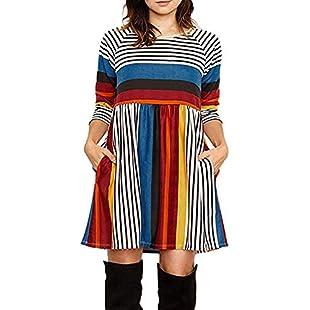 Women Lady Autumn Winter Pocket Multicolor Stripe Print Long Sleeve O Neck Mini Dress (Blue, S):Iracematravel