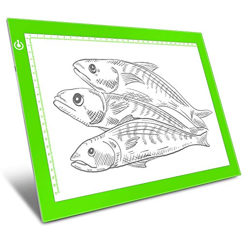 Green A4 Dimmable LED Artcraft Light Box Tracer Slim Light Pad Portable Tablet, USB Power Cable Copy Drawing Board Tracing Table for Artists Designing, Animation, Sketching, Stenciling X-ray Viewing