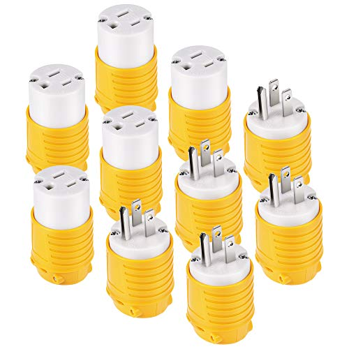 Kohree 15 Amp Extension Cord Ends Male and Female Replacement Plug & Connector Set, 125V Heavy Duty Straight Blade Electrical Plug Grounding Type/ETL Listed (5 Set)
