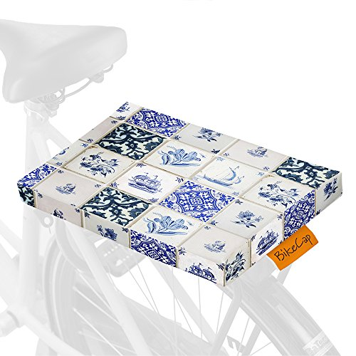 BikeCap. Delft tegels fietskussen, blauw, één maat
