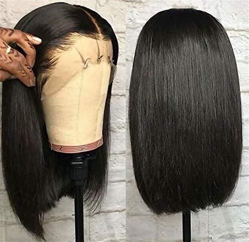 Femmes Courte perruque droite brésilienne avant de dentelle de cheveux humains Perruques 13x4 Couleur naturelle Pré plumé avec bébé cheveux for les femmes pour les femmes Cosplay Party