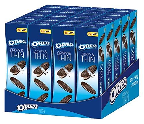 Oreo Crispy & Thin – Extra dünner, knuspriger Kakao Doppelkeks gefüllt mit einer Crème-Füllung mit Vanille Geschmack – Großpackung aus 20 x 96g
