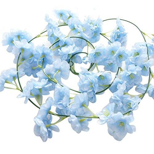angel3292 Clearance Deals!!Artificial Plant,Artificial Fake Cherry Blossom Vine Flower Plant Wedding Party Home Decoration Light Blue
