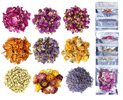 Dried Flowers and Herbs, 15g 100% Natural Dried Flowers for Bath Bombs, Resin Jewelry, Candle Making, Lip Gloss Making, Includes Rosebud, Lily Flower, Lavender Buds, Helichrysum Bracteatum (Yellow)