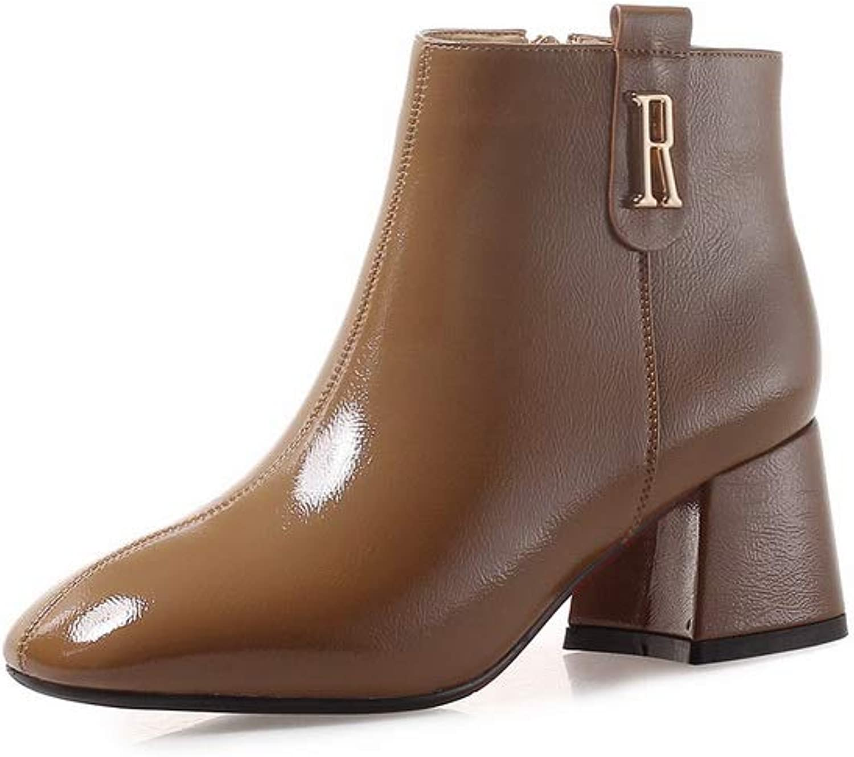 AdeeSu Womens Square Heels Metal Buckles Urethane Boots SXC03886