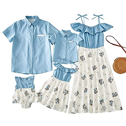 Matching Family Outfits, Mommy and Me Denim Printed Dresses Blue Pocket Tshirt Short Sleeve Matching Outfits