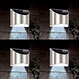 Pack of 4 Solar Powered Wall Lights Outdoor Garden Security Lamp Super Bright LED Waterproof Lamp Patio Fence Pathway Driveway House Front Door Outside