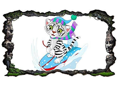 3D Muur Tattoo Kids Kamer Cartoon Kat Sport Sneeuw Winter Snowboard Ski Wandsticker Muursticker Zelfklevende muursticker Woonkamer 11P084 ca. 162cmx97cm