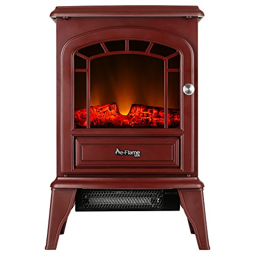 e-Flame USA Aspen Freestanding Electric Fireplace Stove - Infrared 3-D Log and Fire Effect (Rustic Red)