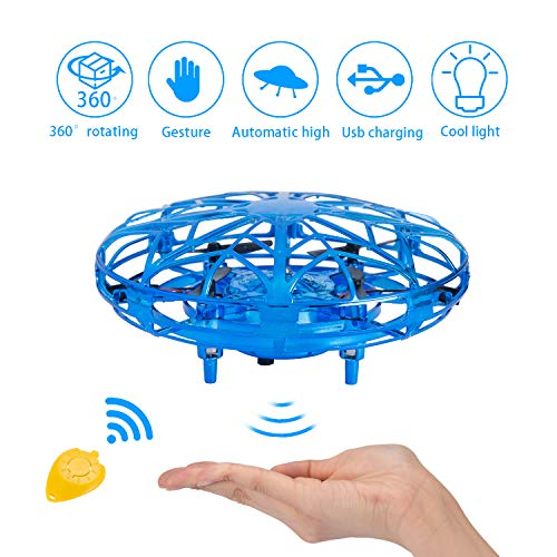 Hand Operated Drones for Kids - UFO Mini Flying Toy with Intelligent Motion Sensor USB Rechargeable Indoor Outdoor Drone, Best Flying Ball Drone Toys Gifts for Boys and Girls (Blue)