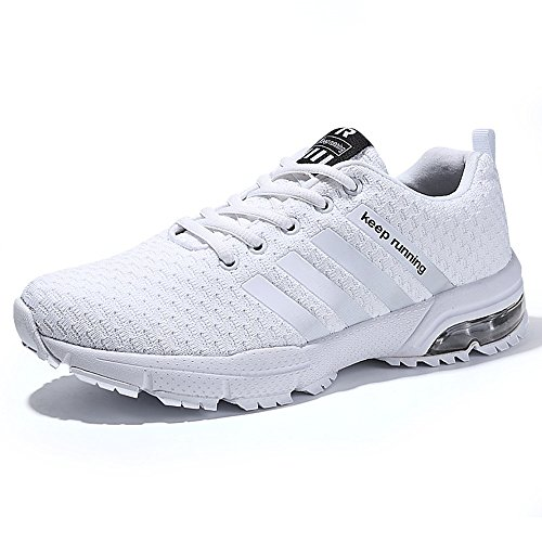 Zapatillas de Deportivas para Correr Mujeres Atletico Running Air Cushion 3cm Respirable Sneakers Negro Azul Rojo Blanco Blanco 40
