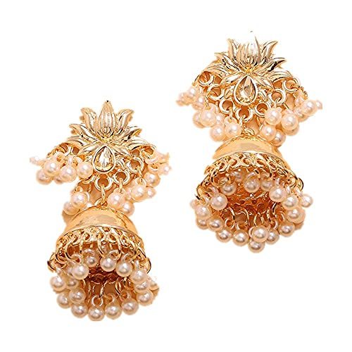 XAOQW Hecho a Mano Lotus Gold Bead Pendientes Perforados Moda Fiesta Joyería