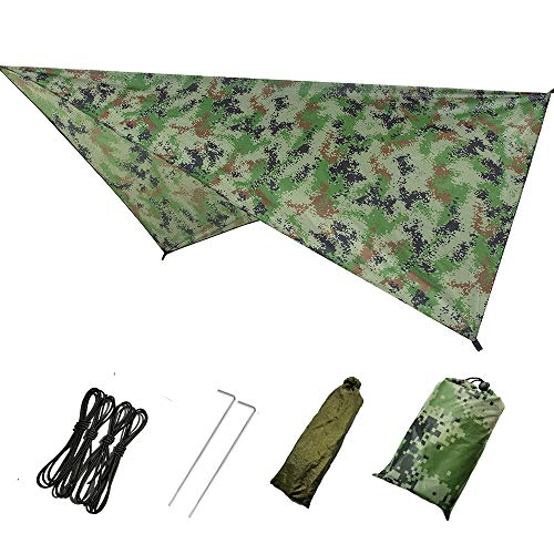 Rosepoem Hamaca de lona para camping, toldo impermeable para tienda de campaña ultraligero para exteriores, camping, playa, mochilero, refugio de sol
